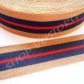 Лента репсовая 2 см полосы бежево-сине-красная, 1 м