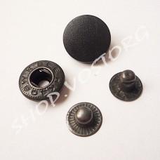 Кнопка Альфа 15 мм пластиковый верх черная