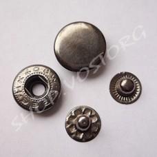 Кнопка Альфа 15 мм, черный никель