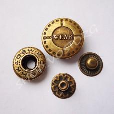 Кнопка Альфа 17 мм Wear, антик