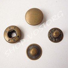 Кнопка Альфа 15 мм нержавеющая, цвет антик
