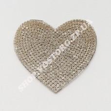 Термоаппликация стразы Сердце серебро 6 см