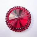 Камни пришивные Круг с ободком 25 мм красные