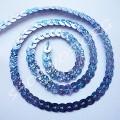 Пайетки на нитке светло-синие голограмма, 1 м
