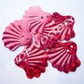 Пайетки фигурные Ракушка 20 мм красные голограмма, 50 шт