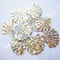 Пайетки фигурные Ракушка 20 мм светлое золото голограмма, 50 шт