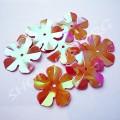 Пайетки фигурные Цветок 20 мм красные радужные, 50 шт