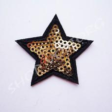 Термоаппликация пайетки Звезда 4 см золото