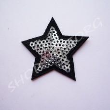 Термоаппликация пайетки Звезда 4 см серебро