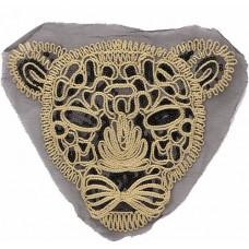 Аппликация с пайетками Леопард черно-золотой