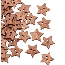 Пуговица декор Звезда  деревянная18 мм