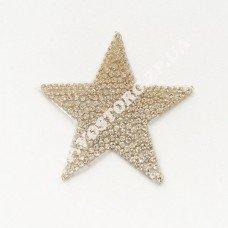 Термоаппликация стразы Звезда серебро 5 см