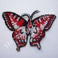 Термоаппликация бабочка 7,5х5 см красная