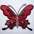 Термоаппликация бабочка 15,5х13 см красная