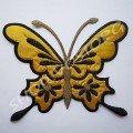 Термоаппликация бабочка 15,5х13 см золотая