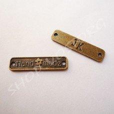 Бирка (металлический лейбл) Hand made 6х25 мм антик