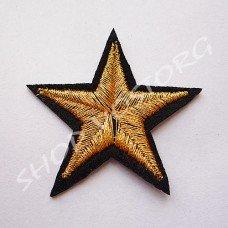 Термоаппликация люрекс Звезда 4 см золото на черном