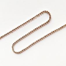 Цепь со стразами золотистые ss6 никель, 1м